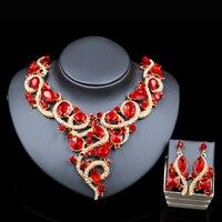 2018 Fashion nigerianischen kristall halskette und ohrringe schmuck-set für brautschmuck abendgesellschaft kleid zubehör kostenloser versand
