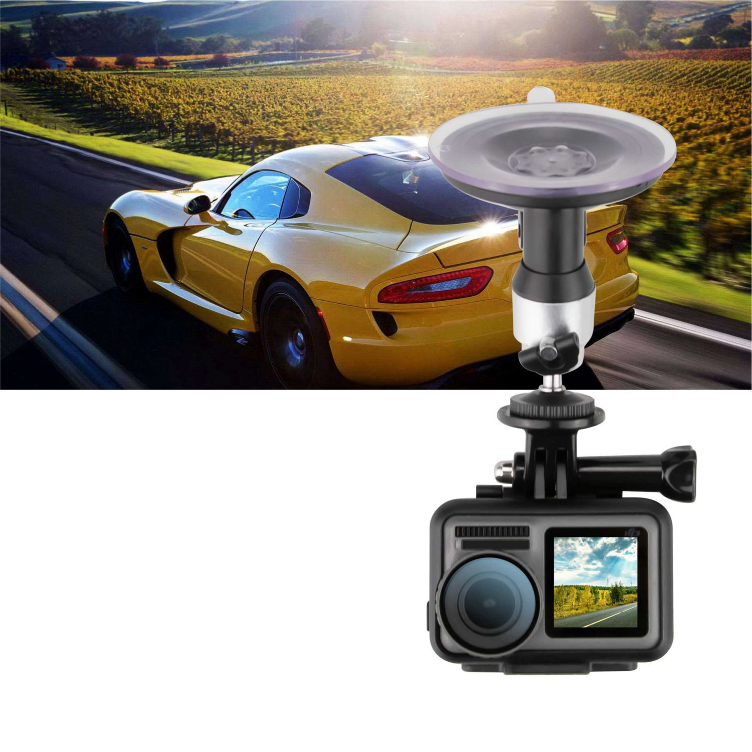 For Dji Osmo Action Car Glass Sucker Adapter Suction Cup Mount Holder Fix Bracket Desktop Stand Car Bracket Camera Mount Acces