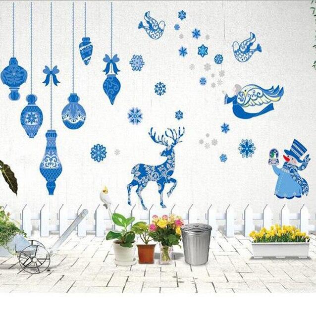 Новый синий Рождественские украшения наклейки DIY Наклейки На Стены Рождество Новый Год Украшение для дома гостиничного рынка стикер P30