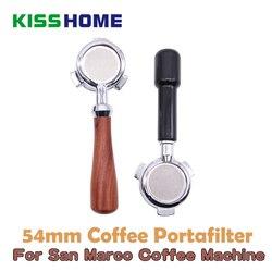 Roestvrij Staal Koffie Filterhouder Voor SanMarco Koffie Machine Brouwen Filter 54mm Houten/PC Bodemloze Handvat Koffie Accessoire