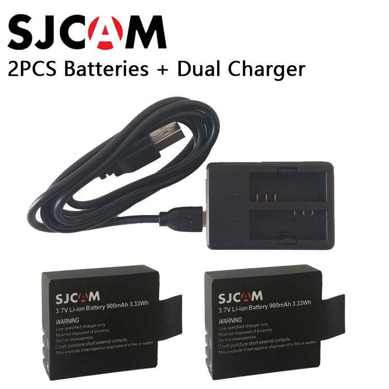 Original sjcam 2 unids sj4000 batería recargable + 1 unids cargador dual para sj4000 sj5000 sj5000x Cámara de Acción Accesorios