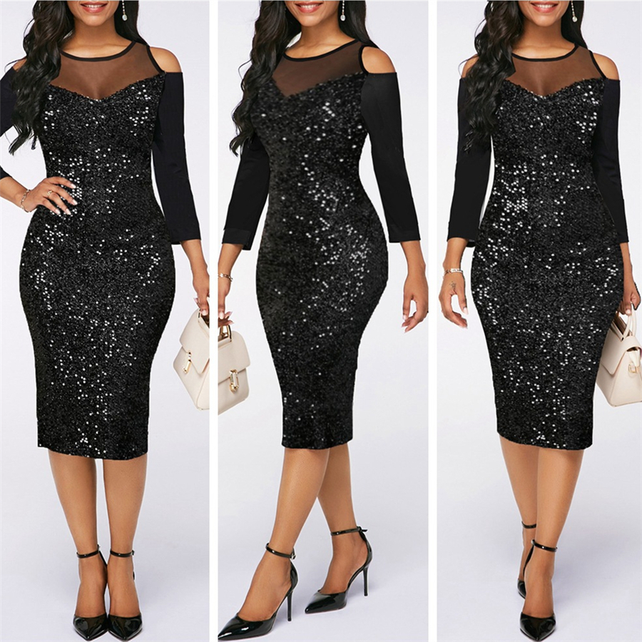 GuyuEra 2019 New African Cloths Sexy Black Mesh Stitching Sequin Strapless Dresses