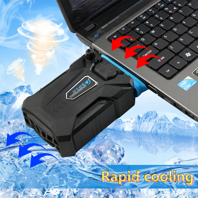 Portable Laptop USB Cooling Fan Air Cooler Speed Adjustable Ice Troll 3 High Performance Notebook Fan Cooler Controller