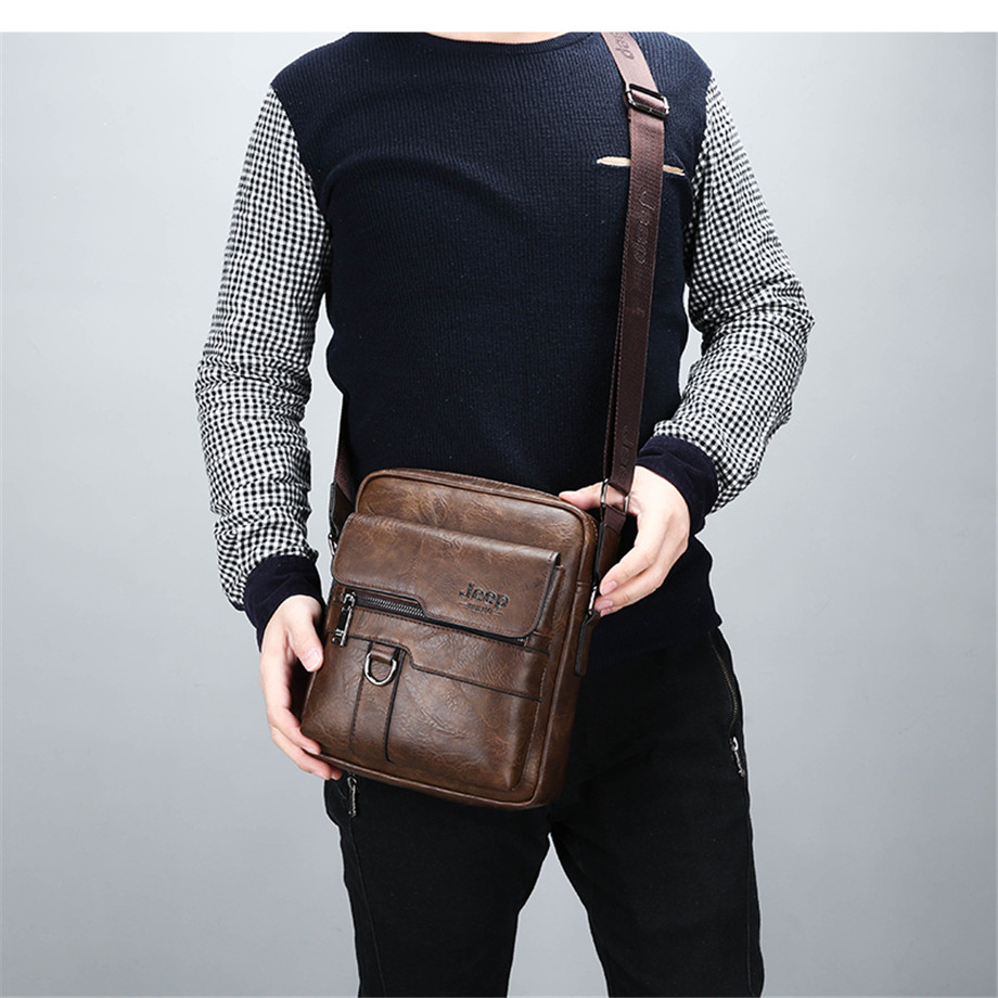 JEEP BULUO Luxury Brand Men Messenger Bags Crossbody Business Casual Handbag Male Spliter Leather Shoulder Bag Large Capacity 5