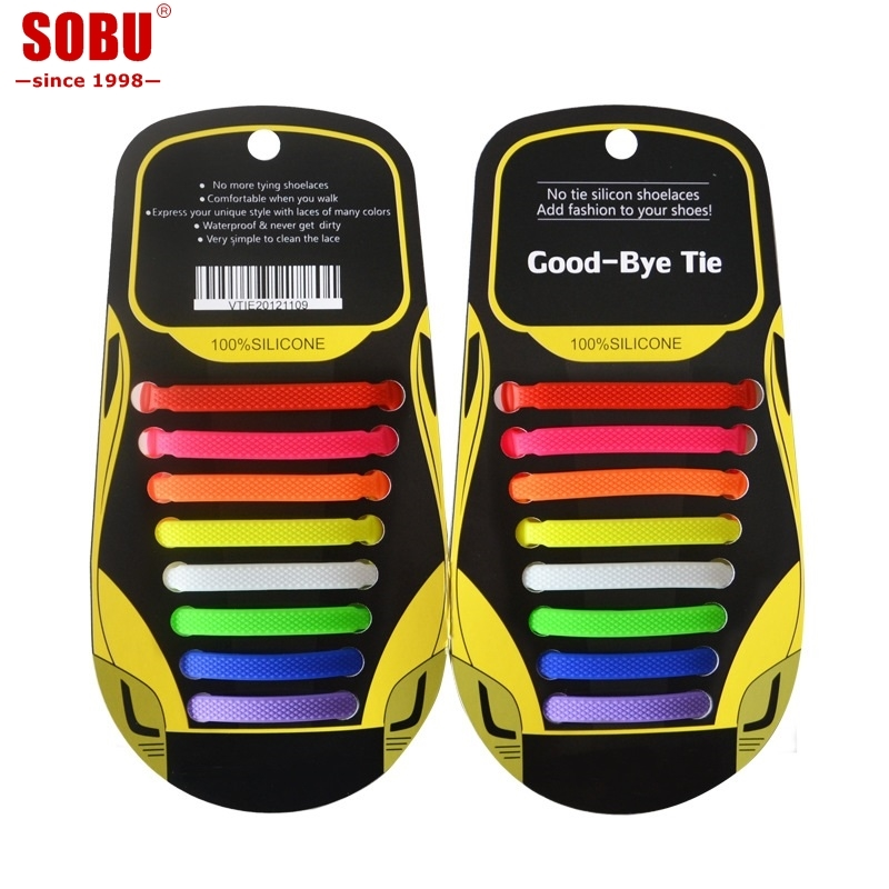 SOBU Brand Elastic Silicone Shoelaces Creative Lazy No Tie Shoe Laces