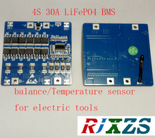 4S 30A    LiFePO4  BMS/PCM battery protection board for electric tools  18650  Battery Cell w/ Balance w/temperature sensor