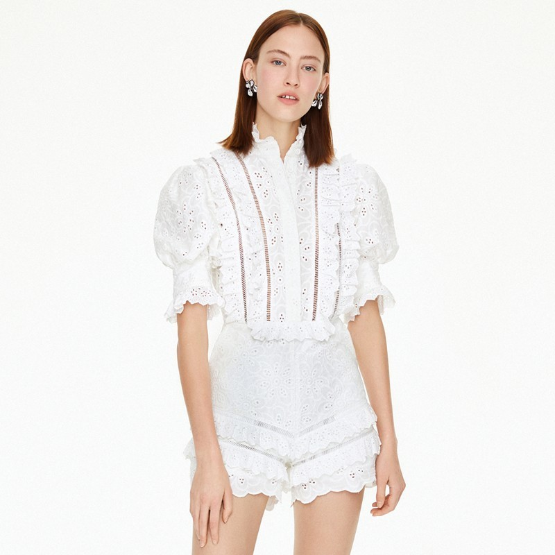 2019 Summer Fashion Hollow Out Stand Elegant Women Runway   Jumpsuit   Puff Sleeve Layer Ruffles White Cotton Playsuits Rompers