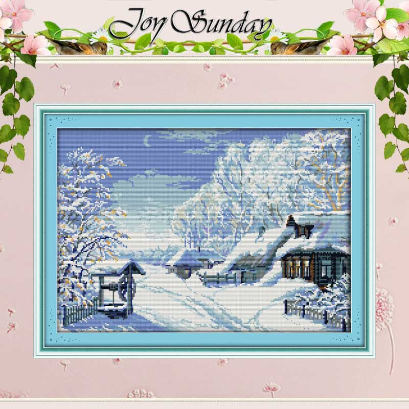 겨울의 중간에 십자수 스티치 11 14CT 크로스 스티치 풍경 크로스 스티치 키트 자수 홈 장식 바느질 작업