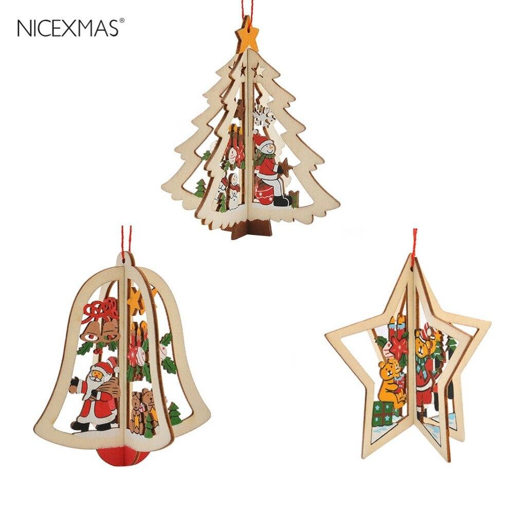3 stücke Holz Jingle Bell Fünfzackigen Stern Weihnachtsbaum Anhänger ...