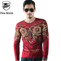 Fire Kirin Luxury Brand T Shirt For Men Slim Fit Mens Fashion Tshirts 2017 Long Sleeve T-shirt 3D Printed Tee Shirt Homme T461