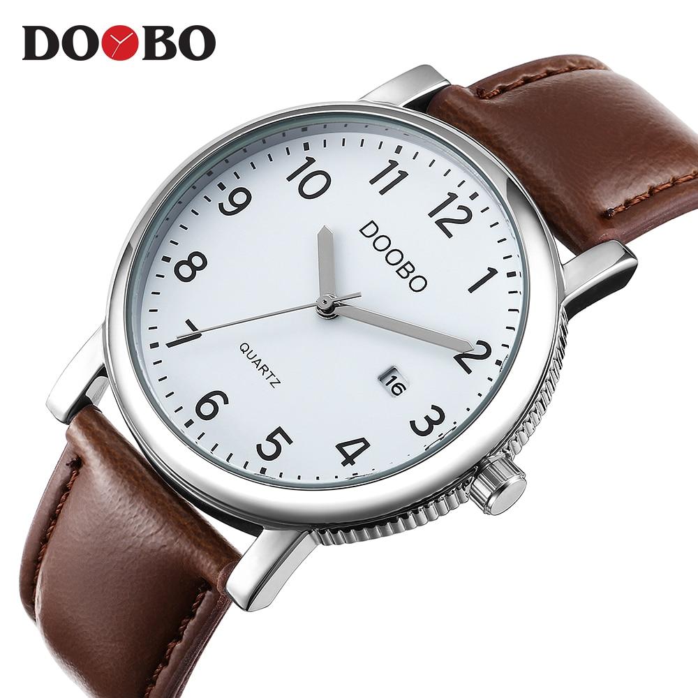 fa814834076 DOOBO Original Men Quartz Watch Reloj Hombre Relógios Homens de Negócios de  Couro Relógio Cronógrafo Militar Do Exército Relógio Do Esporte para o Sexo  ...