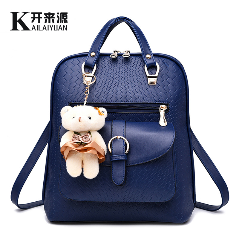 2016 Cute Cartoon Bear Women Backpack Preppy School Bags Backpack for Girls Teenagers Knitting Women Backpack