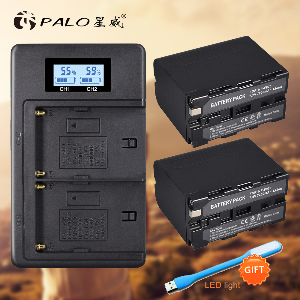 PALO NP F970 NP F970 LCD Dual Charger+2Pcs 7200mAh NP F970 NP F970 Power Display Battery for SONY F930 F950 F770 F570 CCD RV100