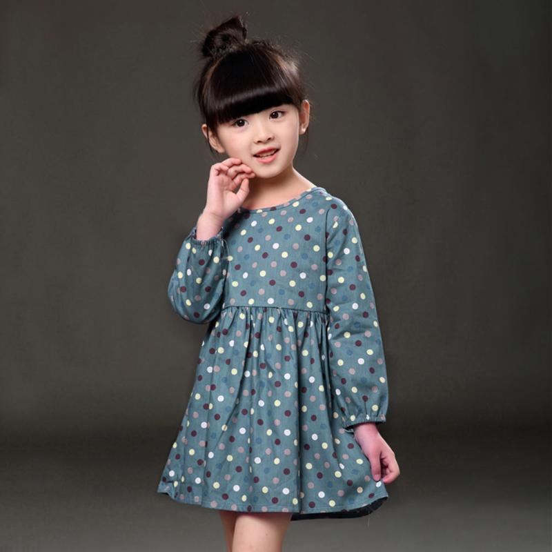 Girls Kids Clothes Colorful Long Sleeve Polka Dot Floral Print Dress Spring Autumn All-match Kids Blue Pink Clothing baby girls short sleeve dress girls kids polka dot dress clothes overalls dress
