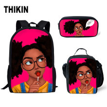 THIKIN African American Girl 2019 School Bags for Teenagers Girls Black Queen Backpack Children Schoolbag Kids Bag Custom