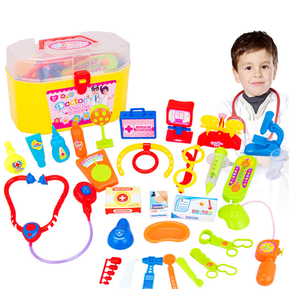 30PCS Role Play Doctor Toys Set Childrens Simulation Medicine Box Medical Equipment Toys Early Education
