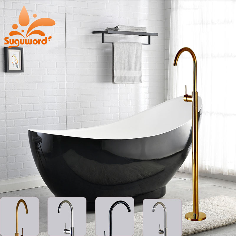 Us 7363 46 Offsuguword Chromeantique Brassgoldbrushed Nickelorb Floor Standing Faucet Hot And Cold Mixer Tap Bathroom Tub Mixer Tap In Shower