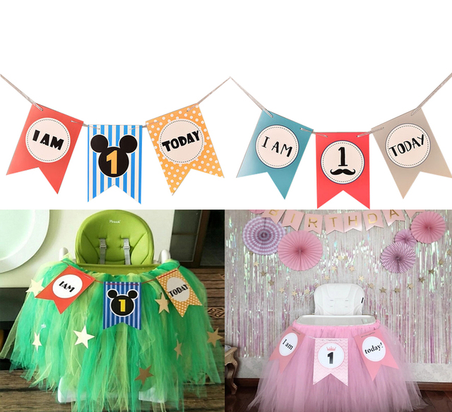 APRICOT Hot Baby First Birthday Chair Banner I AM ONE TODAY 1st Party Decoration Boy Girl Bunting Supplies