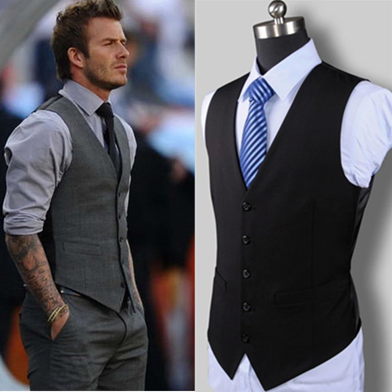 New Wedding Dress High-quality Goods Cotton Men's Fashion Design Suit Vest / Grey Black High-end Men's Business Casual Suit Vest(China)