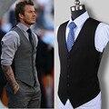 Novos bens de alta qualidade do vestido de casamento design de moda colete terno dos homens do algodão/Cinza preto dos homens high-end business casual terno colete