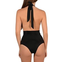 Swimwear Women Sexy One Piece Swimsuit Halter Lace-up Mesh Perspective Lace Patchwork Hollow Out Backless Women Swimwear 2017
