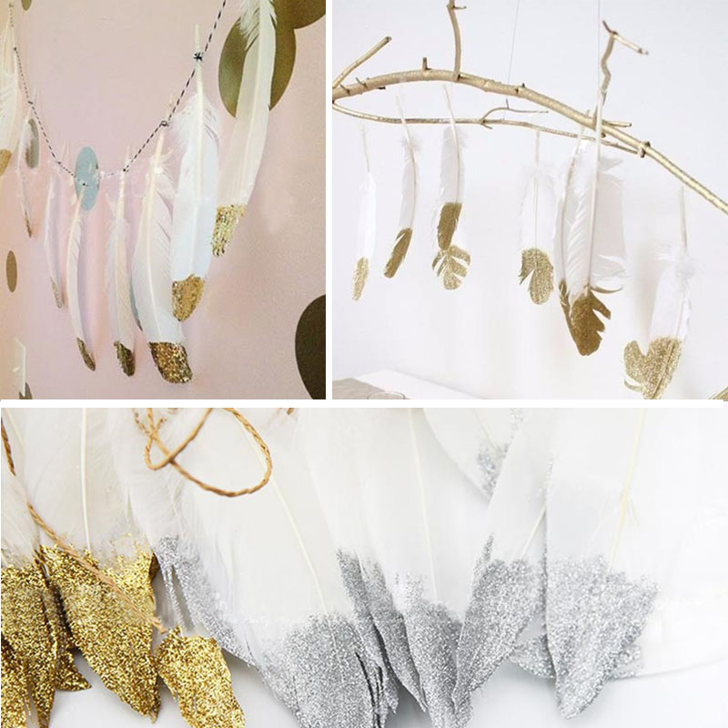 2M Beautiful Feather Garlands With Gold Glitter Powders Hanging Garlands Pastel Birthday Bunting Banner Baby Shower Party Decor ...