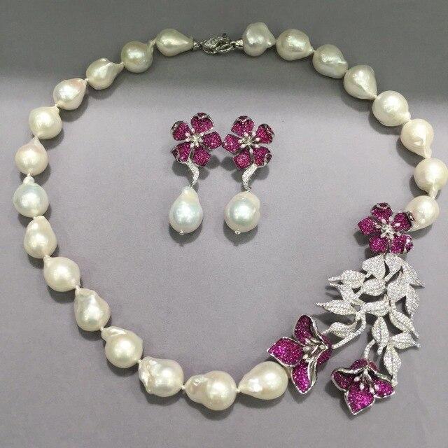 778621cb8d7c Barroco natural de agua dulce collar de perlas y joyería del pendiente  establece la plata esterlina