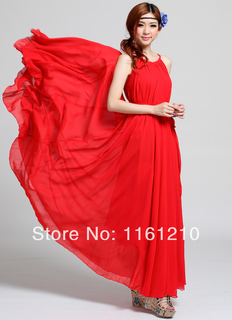 fd9ea67c3b9 Chinese Red Honeymoon dress Summer Lightweight Sundress Holiday Beach Maxi  Dress Party Guest Sundress Plus Size Boho maternity
