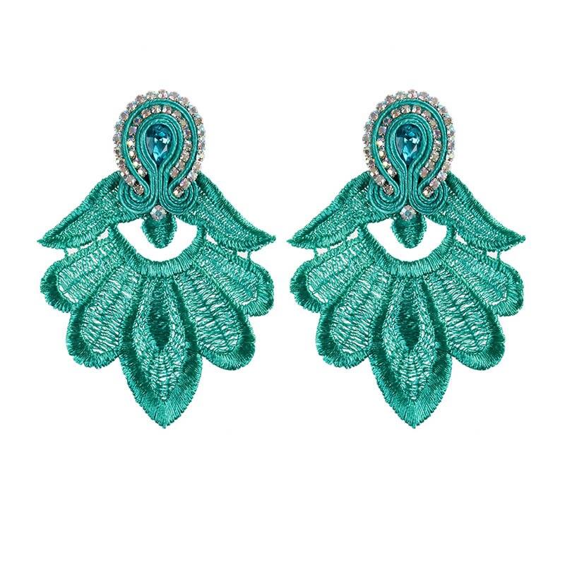 KPacTa New Ethnic Handmade Earrings Jewelry Female Crystal Decoration Soutache Handmade Drop Earring Oorbellen Women Gift in Drop Earrings from Jewelry Accessories