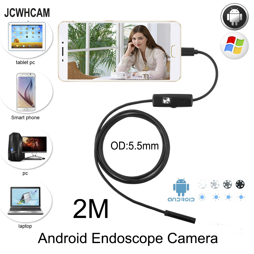 JCWHCAM 5.5mm Lens Android OTG USB Endoscope Camera 2M Smart Android Phone USB Borescope Inspection Snake Tube Camera 6 LED 2018 newest 4 9mm lens medical endoscope camera for otg android phone pc usb borescope inspection otoscope camera for ear nose