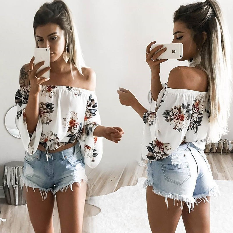 Off Shoulder Casual Loose T-Shirt Tops Womens Printed  Summer Tops Shirt
