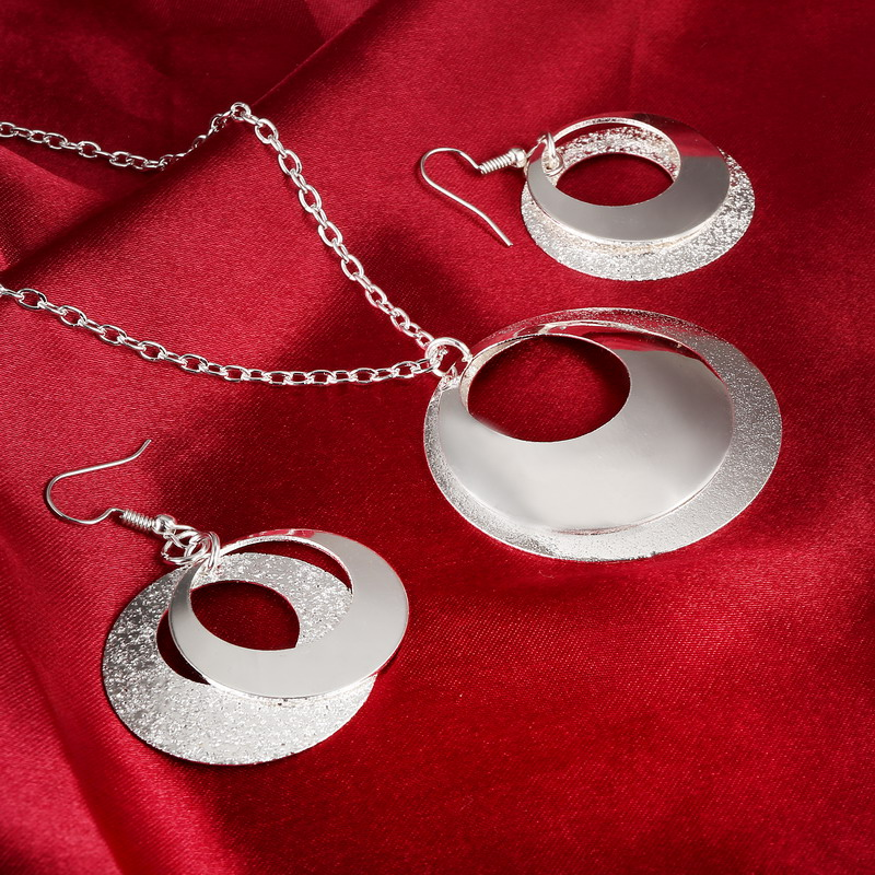 Cheap Price Matte Silver Color Round Pendant Necklace Earrings Match All Jewelry Set For Women image