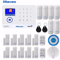 IHaven WIFI GSM Alarm System RFID Card Arm Disarm Multilingual Burglar Alarm Wireless Home Security APP