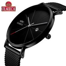 Luxury reloj hombre Quartz Clock OLMECA Men's Watches Calendar Date Wrist Watch 3ATM Water Resistant Watches Milanese Band Black цена 2017