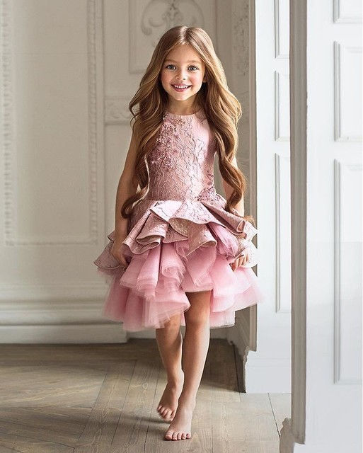 Gorgeous Vestidos de Primera Comunion Zipper Draped A-line Pageant Christmas Pink Tulle Rustic Flower Girl Dress 0-12 Years Old