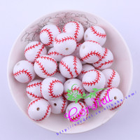 Free Shipping 20MM 100Pcs Lot Printing Carved White Acrylic Baseball Beads For Decoration Jewelry CDBD 601178