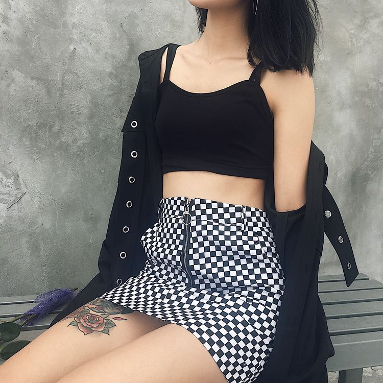 HTB1g4SXRpXXXXbCXXXXq6xXFXXXD - FREE SHIPPING High Waist Mini Skirts Black White Checkerboard Plaid JKP240