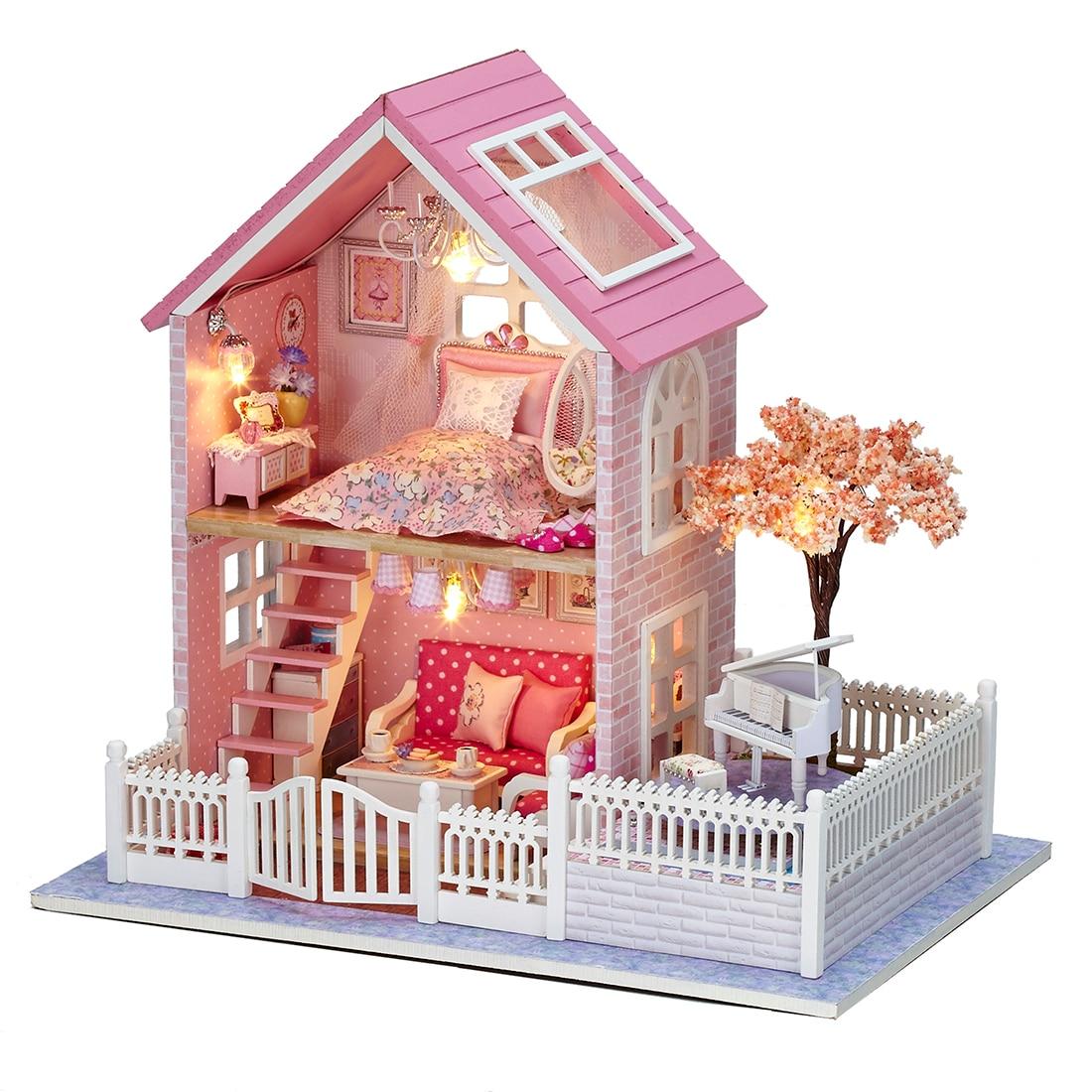 Intéressant maison de poupée rose Oriental cerise 3D assemblage bricolage ménage maison créative Kit avec Piano