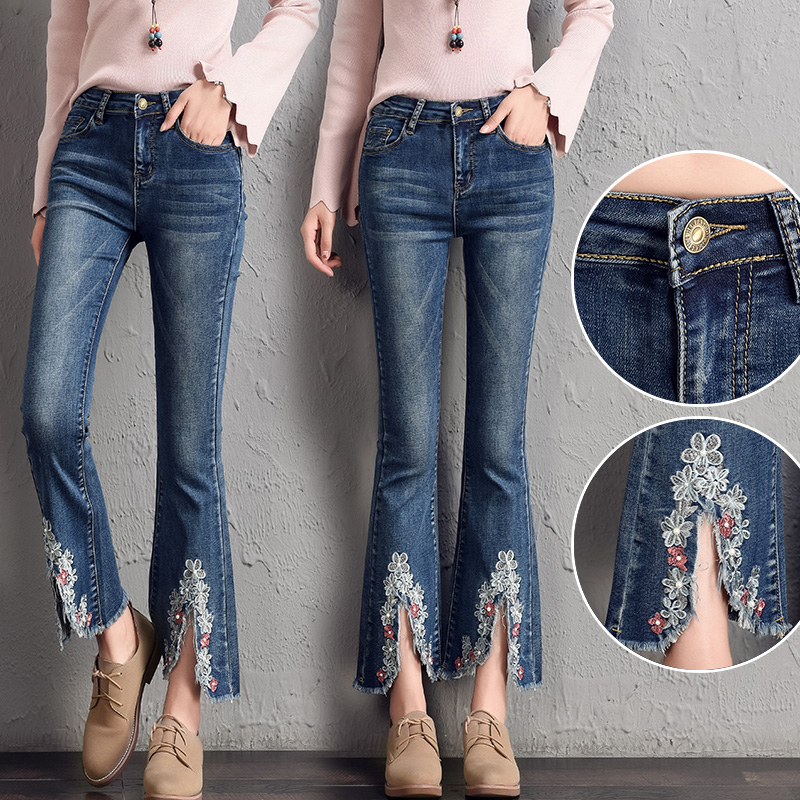 2018 Female Summer Mid Waist Embroidered Flare Jeans font b Slim b font Women Cowboy Denim