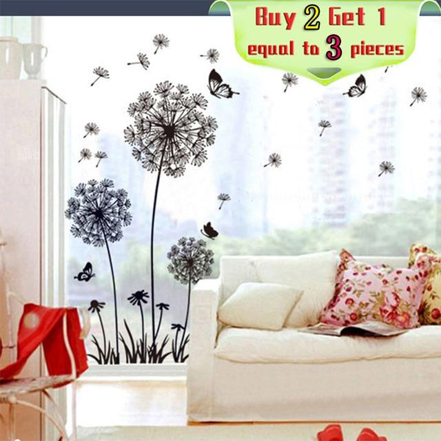 Nice DF5125 Black PVC Material Dynamic Vitality Dandelion Living Room Bedroom  Cozy Sofa TV Background Removable Wall
