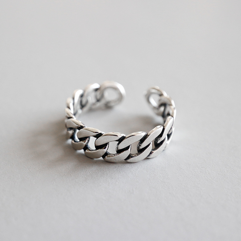 Vintage flat chain 925 sterling silver rings for women, retro opening ring anillos bague femme anel feminino silver 925 jewelry