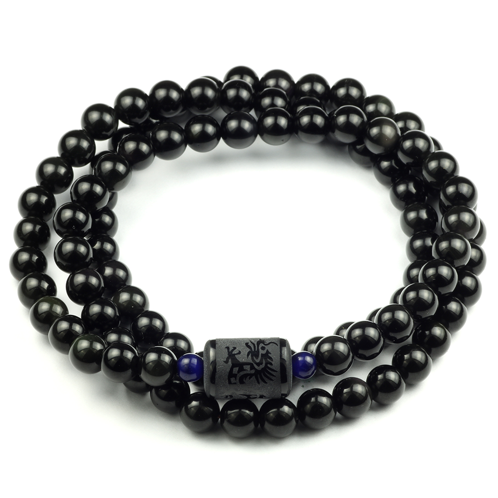 Black Rainbow Obsidian Natural Stone Bracelets Couple Multilayer Beads Strand bracelets & bangles For Women And Men