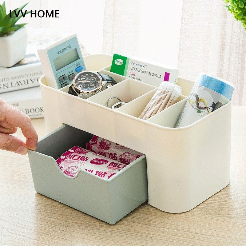 LVV HOME six grid desktop storage box/Makeup box sundries case small objects box kitchen storage basket