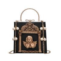 Европейский стиль ретро Сумки Новинка 2017 года из искусственной кожи высокого качества Для женщин сумка фото Рамки Перл мешок руки металлич...