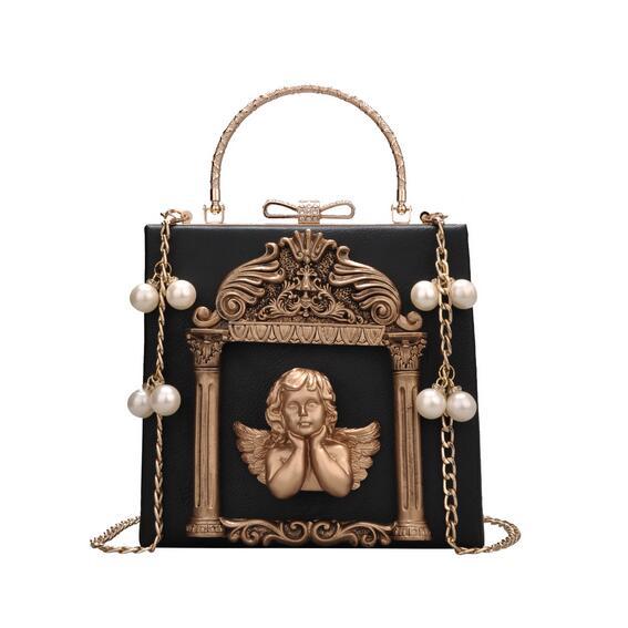 European style Retro Handbags 2017 New High-quality PU Leather Women bag Photo Frame Hand bag Pearl Chain Metal Box Shoulder bag