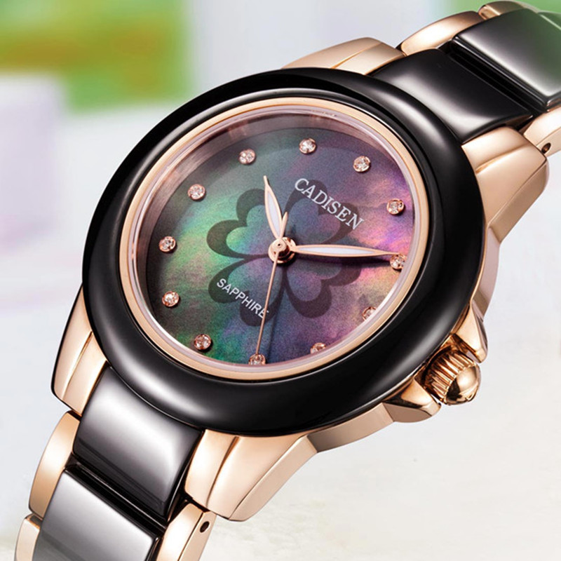 CADISEN ladies watch woman top brand name De Luxe girl leisure ceramic wristwatch Clock ladies watches Relogio Feminino watches