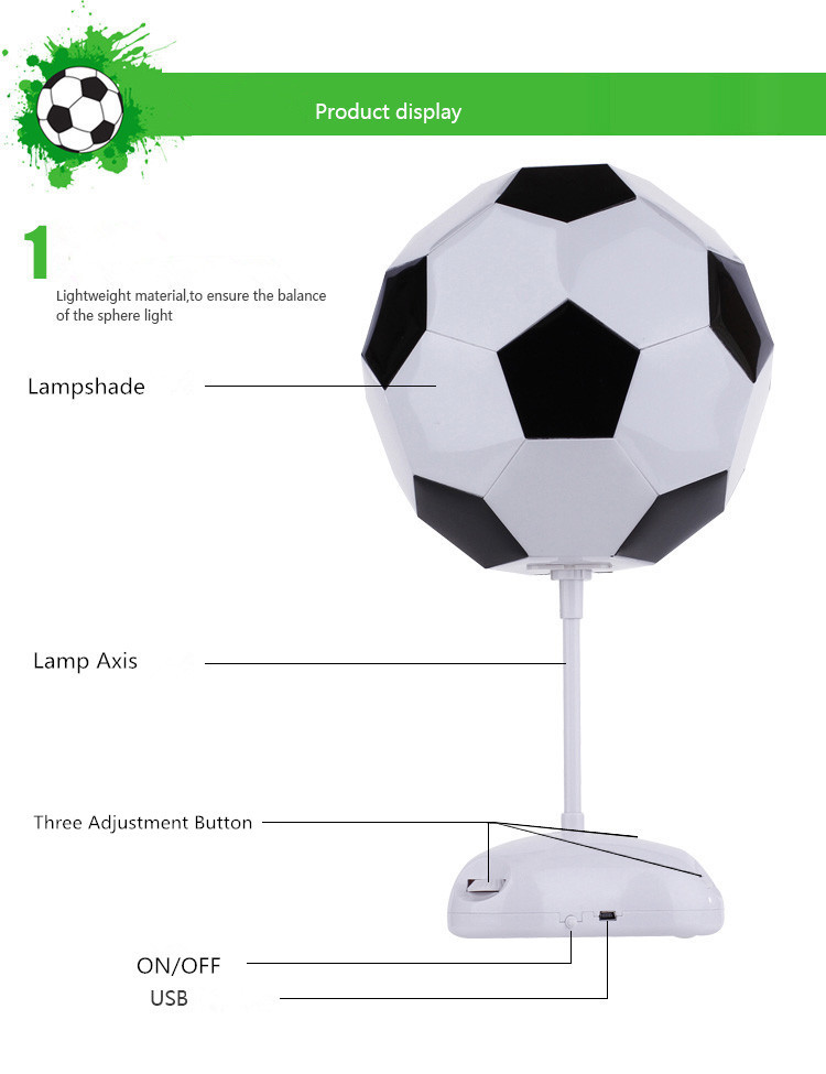 Colorful light diy football lampshade usbbattery power led table colorful light diy football lampshade usbbattery power led table lamps night light for boys kids beside room decoration in desk lamps from lights mozeypictures Images
