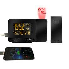 ЕС и США Plug дополнительно 433 мГц телефон зарядки цифровой проекции Будильник Метеостанция