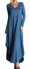 2018 Fashion Knitted Maxi Dress Women Long Sleeve Loose Female Dress Pleated V neck Solid Casual