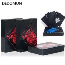 Jakości wodoodporna pcv z tworzywa sztucznego talia kart do gry Trend 54 sztuk Deck Poker klasyczne magiczne sztuczki narzędzie czysta czerń magiczne pudełko pakowane